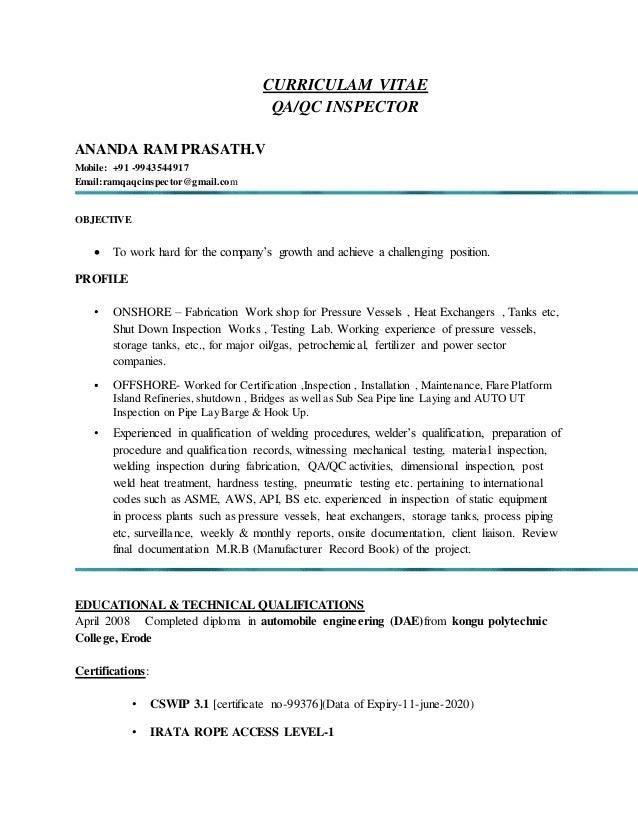 V RESUME. CURRICULAM VITAE QA/QC INSPECTOR ANANDA RAM PRASATH.