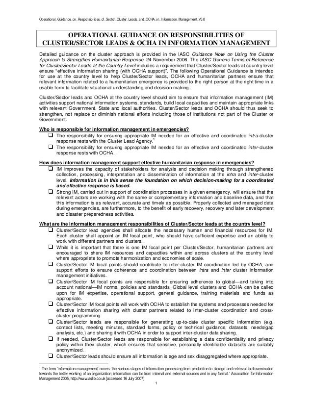 Operational_Guidance_on_Responsibilities_of_Sector_Cluster_Leads_and_OCHA_in_Information_Management_V3.0 1 OPERATIONAL GUI...