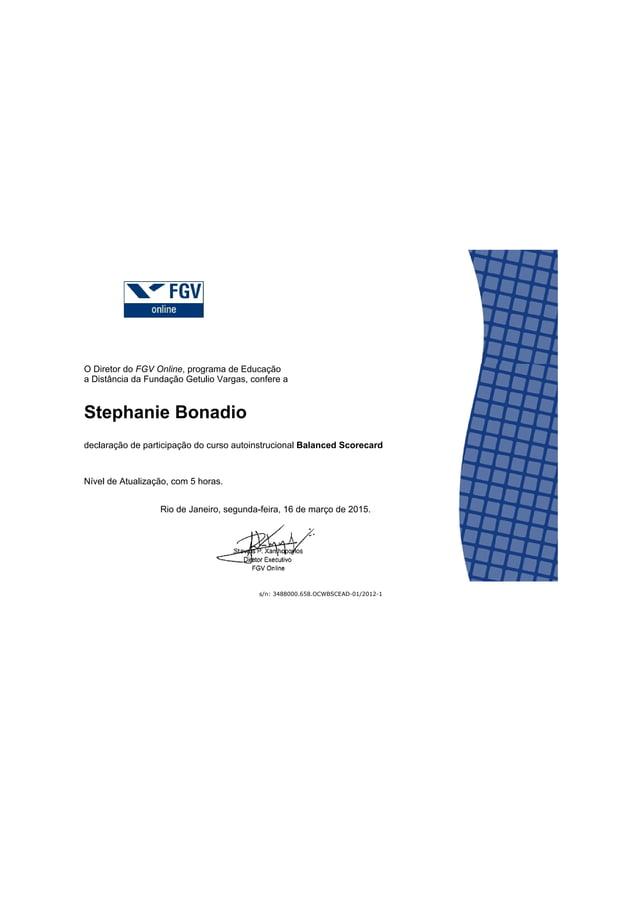Balanced Scorecard Certificado GV