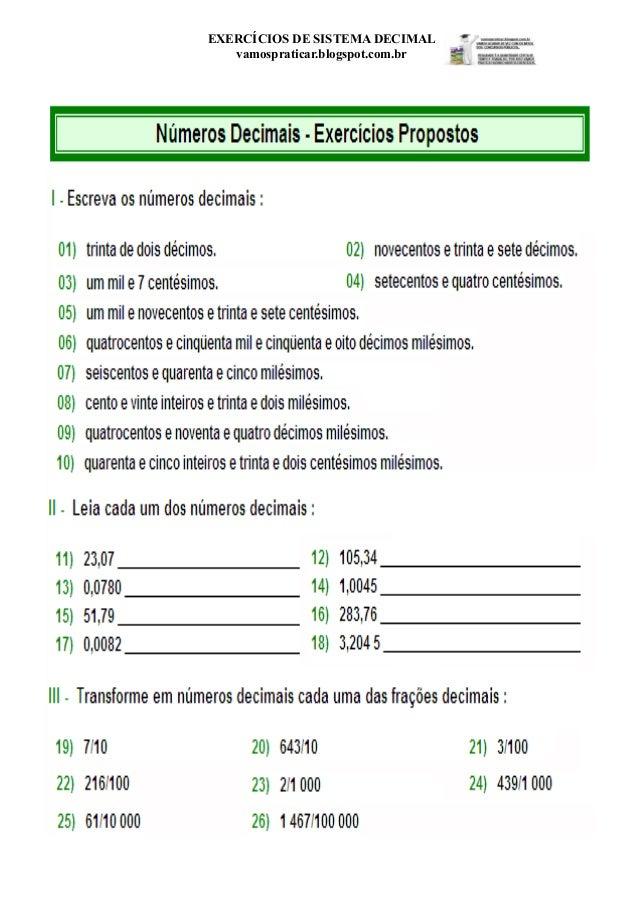 EXERCÍCIOS DE SISTEMA DECIMAL vamospraticar.blogspot.com.br