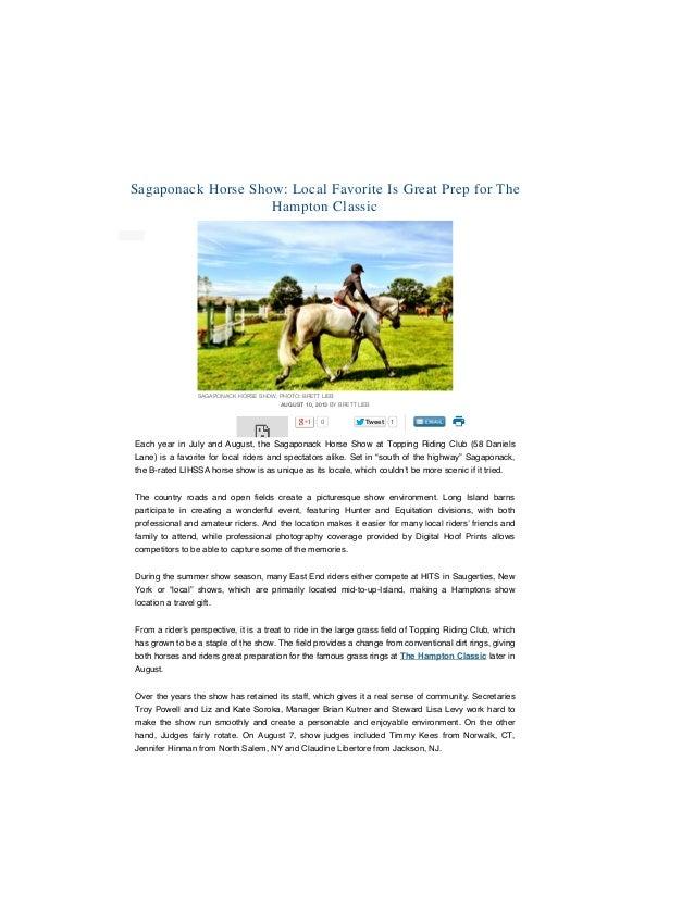 3/3/2015 Sagaponack Horse Show: Local Fave Is Great Prep for Hampton Classic file:///Users/brettlieb/Desktop/Sagaponack%20...