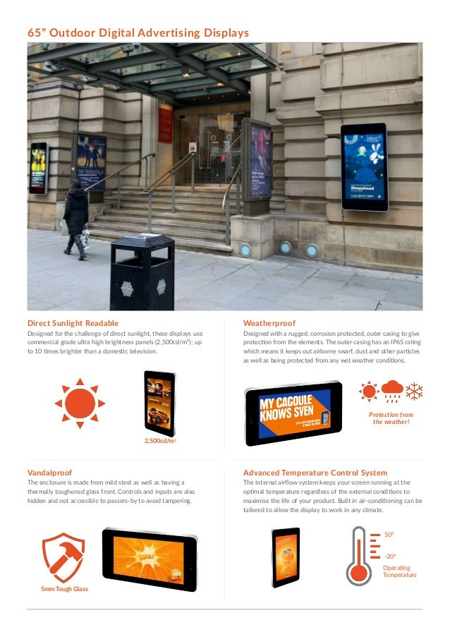 WeatherproofDirect Sunlight Readable Advanced Temperature Control SystemVandalproof Designed with a rugged, corrosion prot...