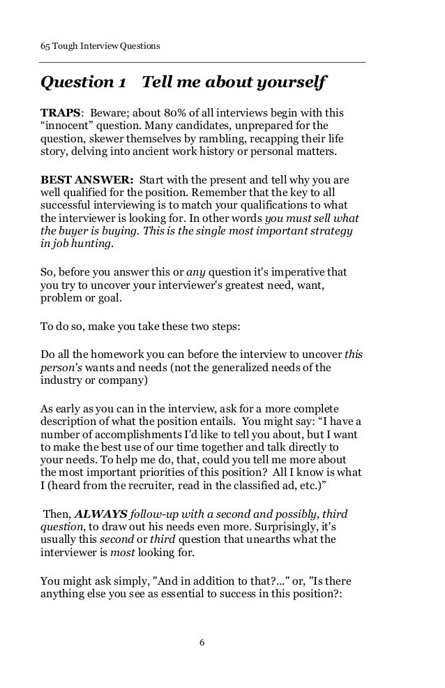 10. 65 Tough Interview Questions ...