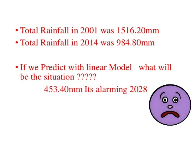 • Total Rainfall in 2001 was 1516.20mm • Total Rainfall in 2014 was 984.80mm • If we Predict with linear Model what will b...