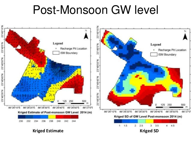 Post-Monsoon GW level Kriged SDKriged Estimate