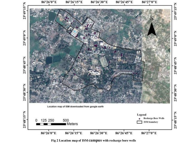 Fig 2 Location map of ISM campus with recharge bore wells