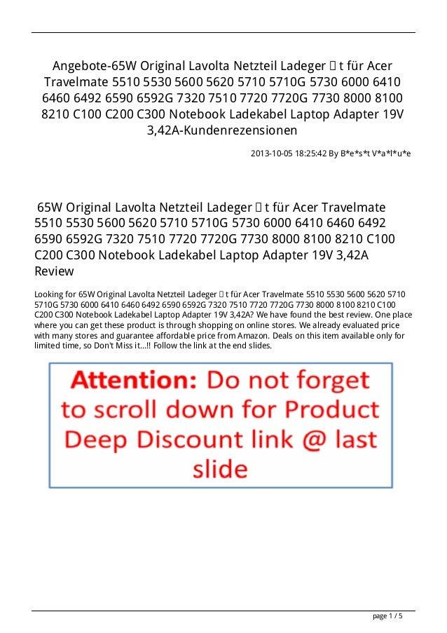 Angebote-65W Original Lavolta Netzteil Ladegerät für Acer Travelmate 5510 5530 5600 5620 5710 5710G 5730 6000 6410 6460 64...