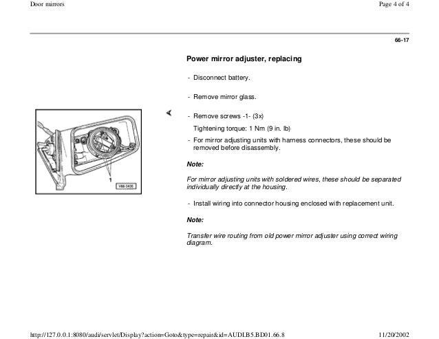 audi mirror wiring diagram repair manual Ford Mirror Wiring Diagram