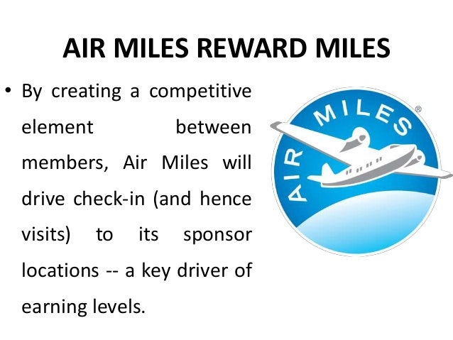 AIR MILES REWARD MILES • All this is achieved by gamification which offers much higher visibility while keeping costs per ...