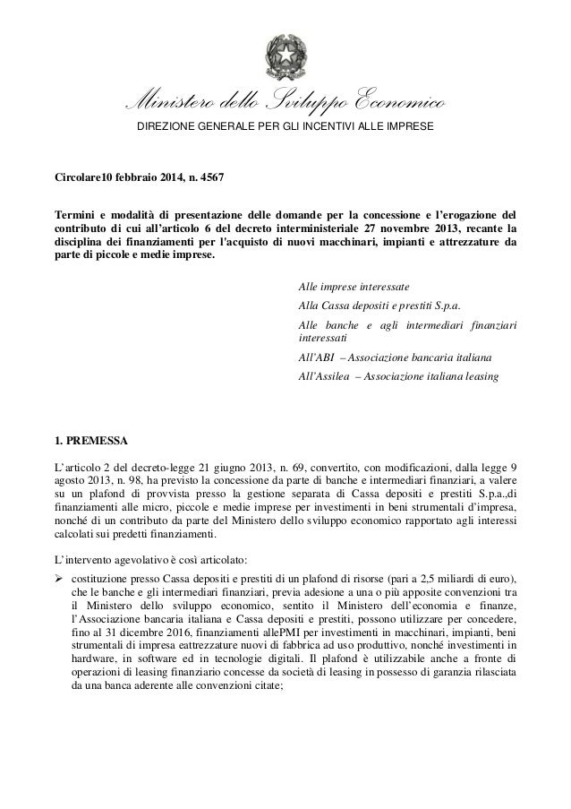 Ministero dello Sviluppo Economico DIREZIONE GENERALE PER GLI INCENTIVI ALLE IMPRESE  Circolare10 febbraio 2014, n. 4567 T...