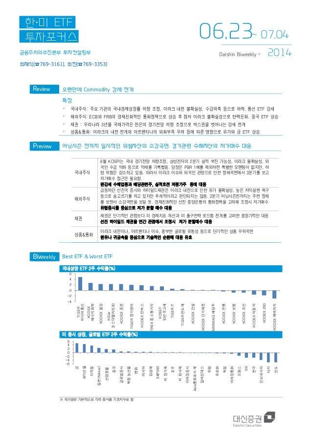 금융주치의추진본부 투자컨설팅부 최재식(☎769-3161), 최진(☎769-3353) 한·미 ETF 투자포커스 2014Daishin Biweekly + Review 오랜만에 Commodity 강세 전개 특징 ∙ 국내주식:...