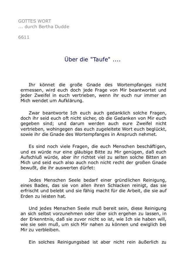 """GOTTES WORT  ... durch Bertha Dudde  6611  Über die """"Taufe"""" ....  Ihr könnet die große Gnade des Wortempfanges nicht  erme..."""
