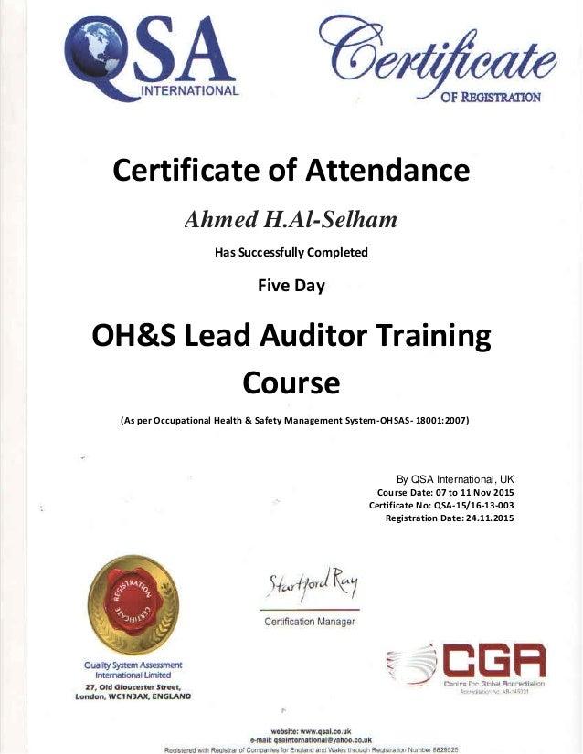 Ahmed Al Selham Certificate