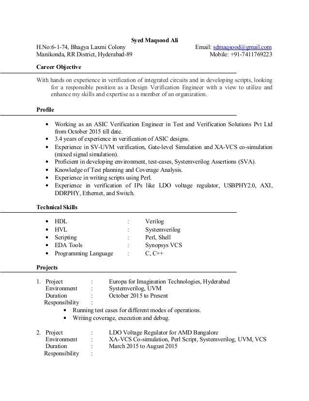 Syed Maqsood Ali H.No:6-1-74, Bhagya Laxmi Colony Email: sdmaqsood@gmail.com Manikonda, RR District, Hyderabad-89 Mobile: ...