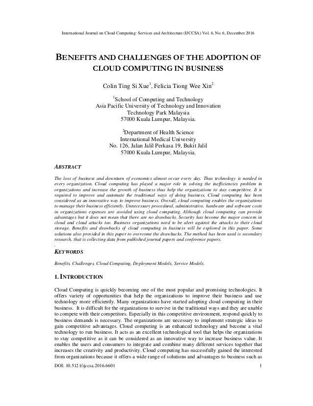 International Journal on Cloud Computing: Services and Architecture (IJCCSA) Vol. 6, No. 6, December 2016 DOI: 10.5121/ijc...