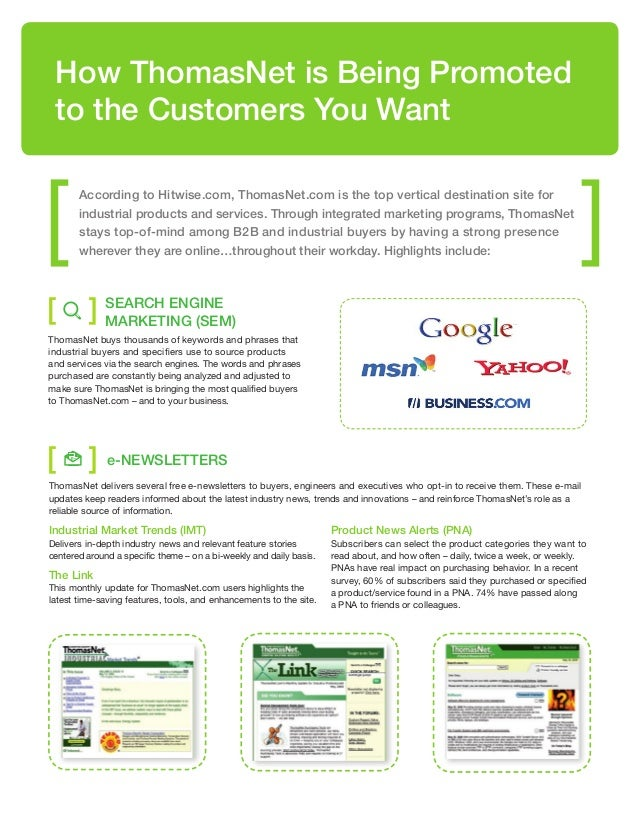 [ ] [ ] How ThomasNet is Being Promoted to the Customers You Want Search Engine Marketing (SEM) ThomasNet buys thousands o...