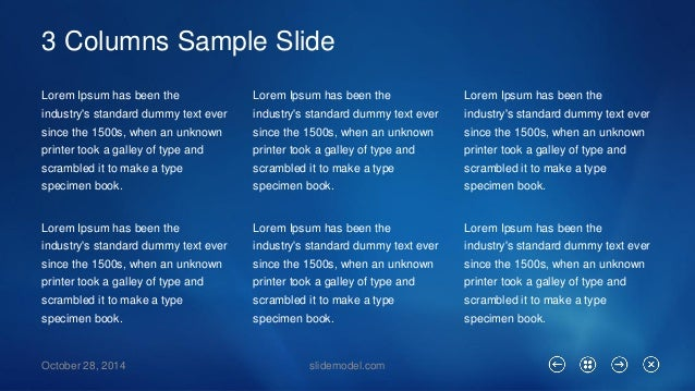 3 Columns Sample Slide  Lorem Ipsum has been the industry's standard dummy text ever since the 1500s, when an unknown prin...
