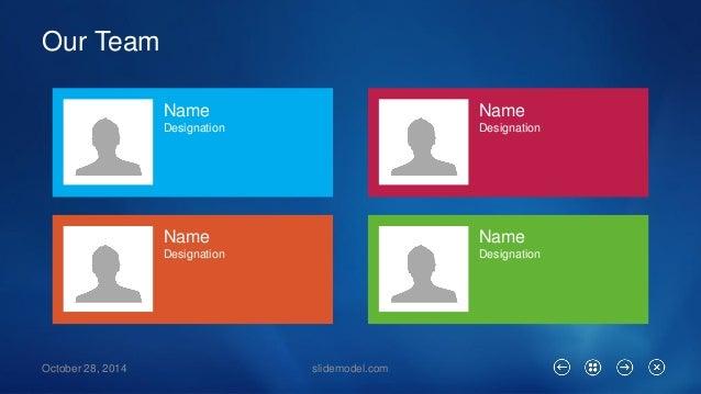 Our Team  October 28, 2014 slidemodel.com  Name  Designation  Name  Designation  Name  Designation  Name  Designation