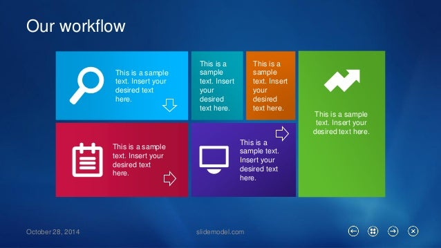 Our workflow  October 28, 2014 slidemodel.com  This is a sample text. Insert your desired text here.  This is a sample tex...