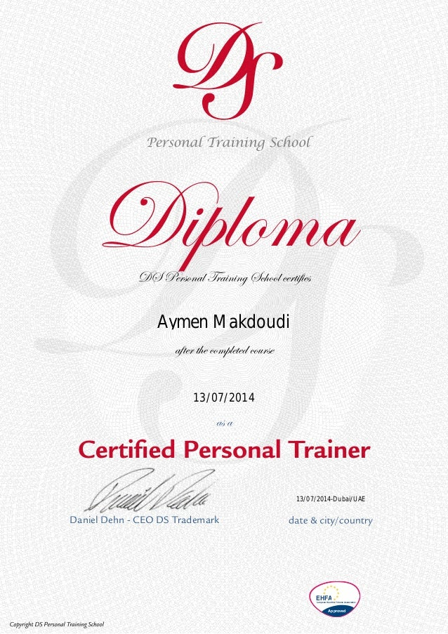 my personal trainer diploma daniel dehn ceo ds trademark ehfaeuropean health fitness association approved 13 07