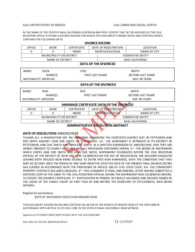 DIVORCE DECREE TRANSLATION PDF. Seal: UNITED STATES OF MEXICO Seal: LABOR  AND SOCIAL JUSTICE IN THE NAME OF ...  Divorce Decree Sample