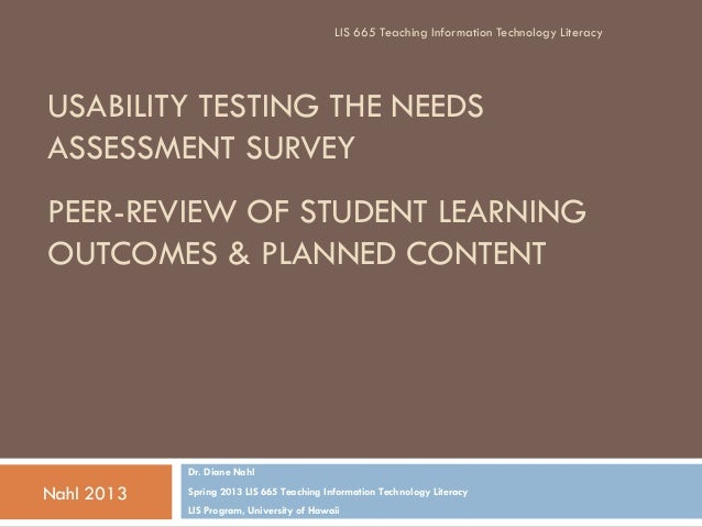 LIS 665 Teaching Information Technology LiteracyUSABILITY TESTING THE NEEDSASSESSMENT SURVEYPEER-REVIEW OF STUDENT LEARNIN...