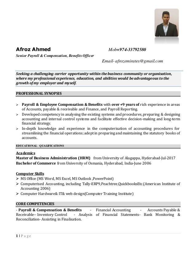 afroz ahmed resume senior payroll officer  u0026 compensation