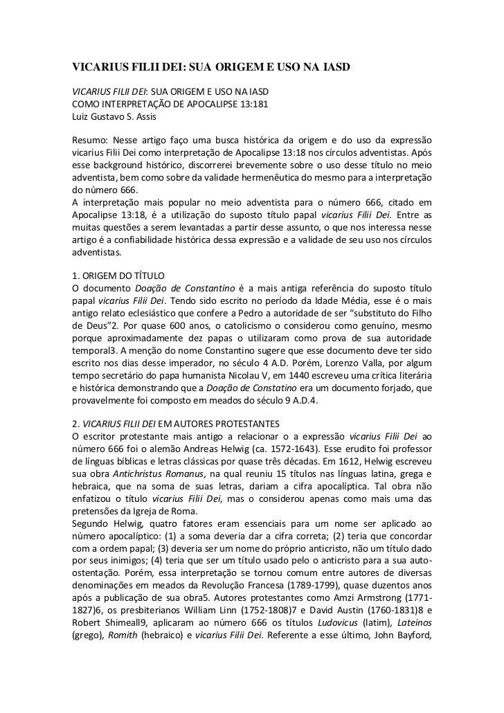 VICARIUS FILII DEI: SUA ORIGEM E USO NA IASDVICARIUS FILII DEI: SUA ORIGEM E USO NA IASDCOMO INTERPRETAÇÃO DE APOCALIPSE 1...