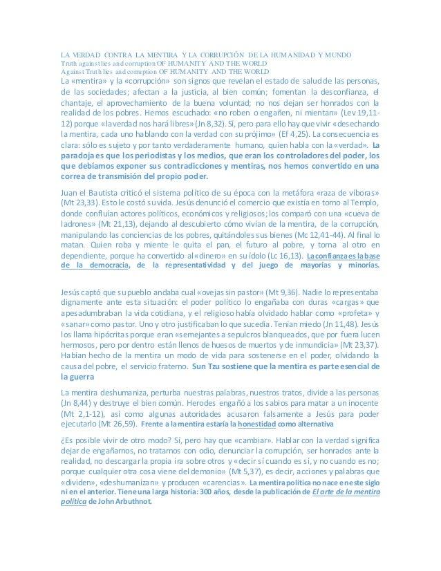 LA VERDAD CONTRA LA MENTIRA Y LA CORRUPCIÓN DE LA HUMANIDAD Y MUNDO Truth against lies and corruption OF HUMANITY AND THE ...