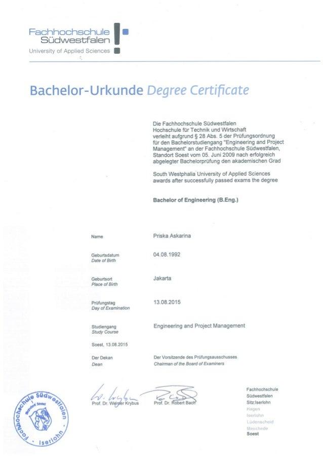 Bachelor Zeugnis Beglaubigen