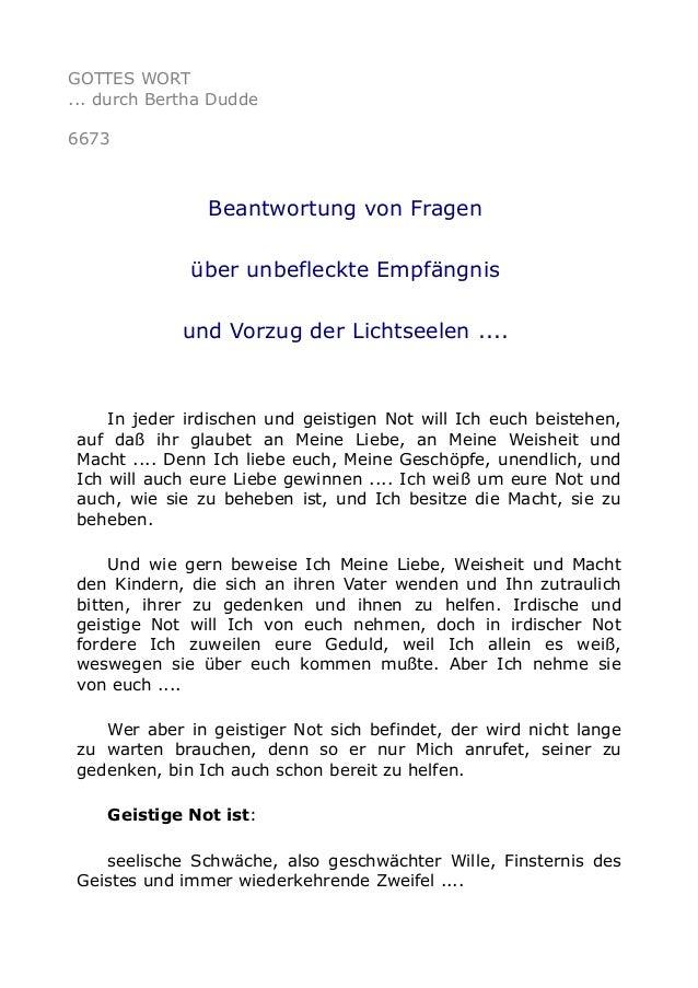 GOTTES WORT  ... durch Bertha Dudde  6673  Beantwortung von Fragen  über unbefleckte Empfängnis  und Vorzug der Lichtseele...