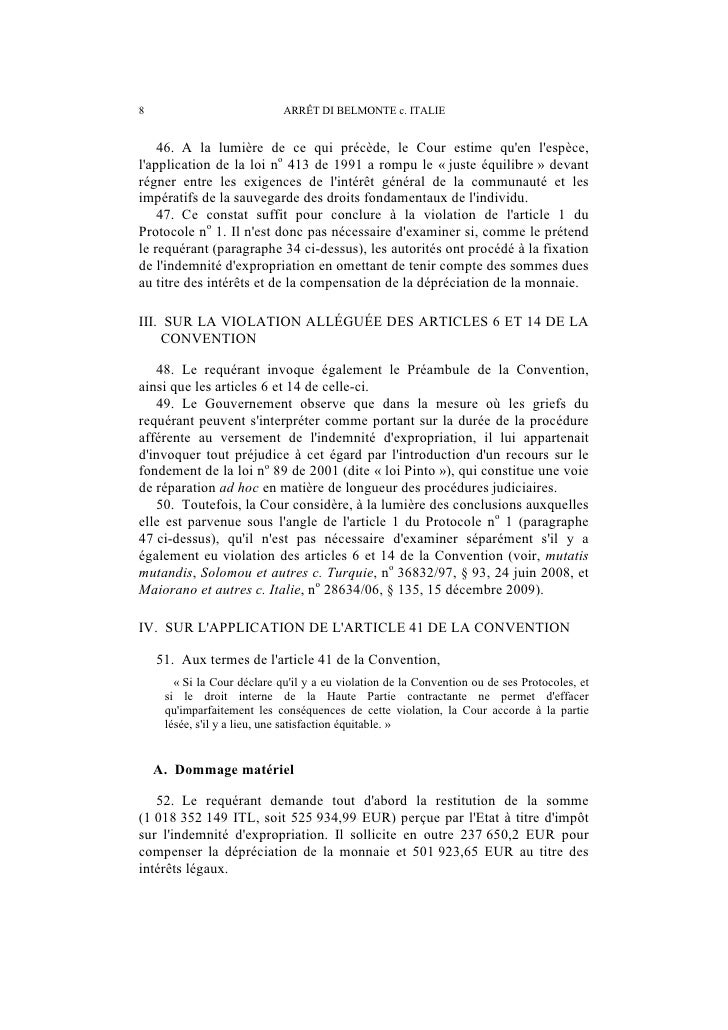 ARRÊT DI BELMONTE c. ITALIE                          9    53. Le Gouvernement considère que les sommes sollicitées par ler...