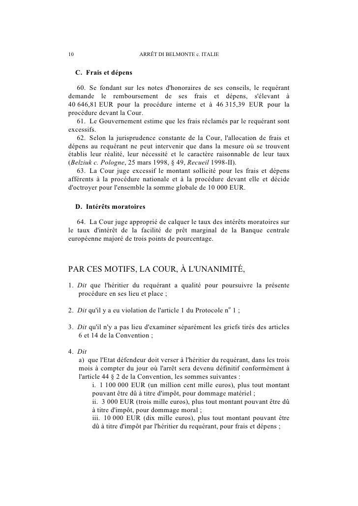 ARRÊT DI BELMONTE c. ITALIE                      11   b) quà compter de lexpiration dudit délai et jusquau versement, ces ...