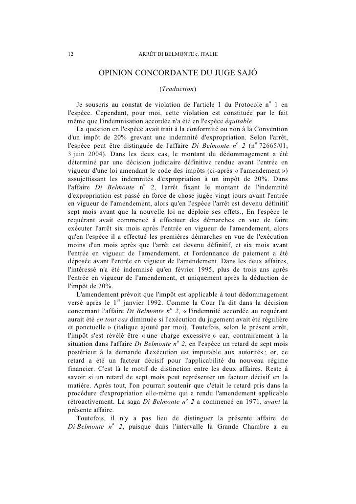 ARRÊT DI BELMONTE c. ITALIE – OPINION SÉPARÉE                             13loccasion dexaminer limpôt susvisé dans laffai...