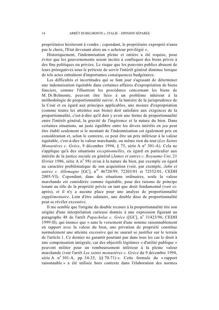 ARRÊT DI BELMONTE c. ITALIE – OPINION SÉPARÉE                          15dindemnisation dans des affaires similaires, comm...