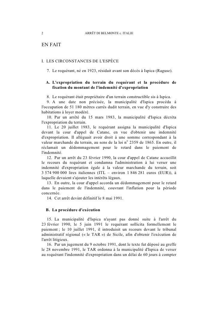 ARRÊT DI BELMONTE c. ITALIE                         3de la notification du jugement. Le TAR nomma également un commissaire...