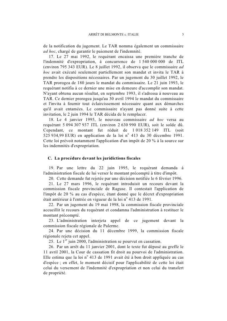 4                             ARRÊT DI BELMONTE c. ITALIEII. LE DROIT INTERNE PERTINENT   27. Avant ladoption de la loi no...