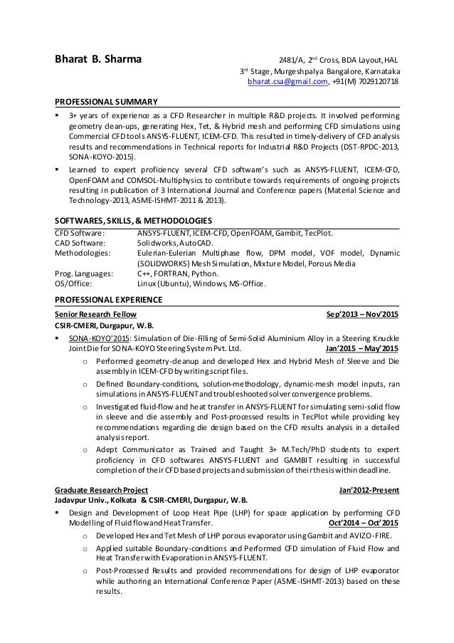 Linkedin Resume Cfd Engineer