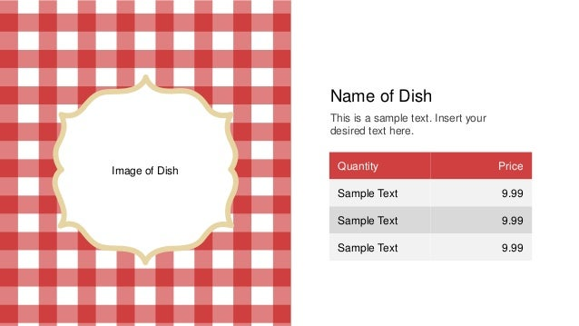 Restaurant Menu Template For Powerpoint
