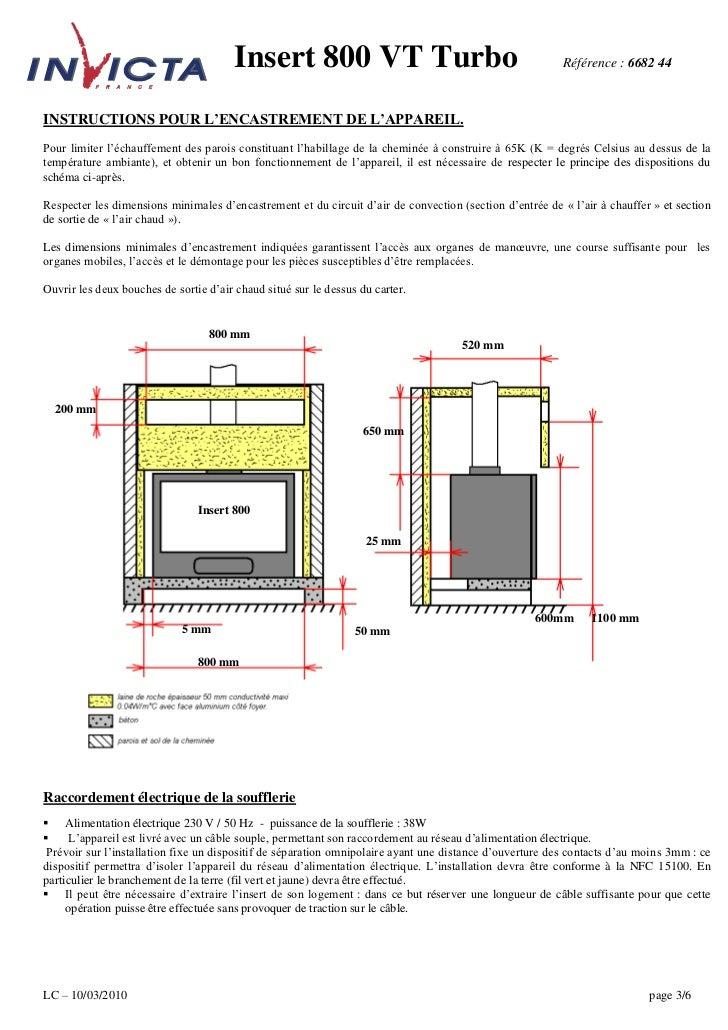 Insert 800 VT Turbo                                              Référence : 6682 44INSTRUCTIONS POUR L'ENCASTREMENT DE L'...