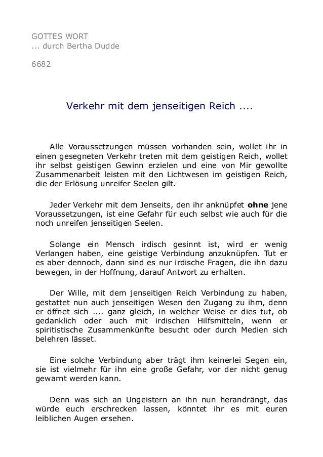 GOTTES WORT  ... durch Bertha Dudde  6682  Verkehr mit dem jenseitigen Reich ....  Alle Voraussetzungen müssen vorhanden s...