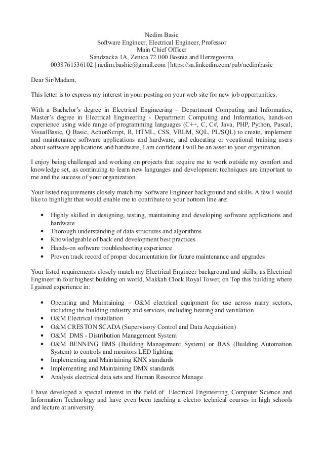 cover letter for software developer 1 year experience - Vatoz ...