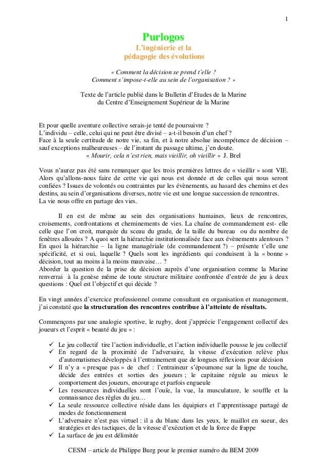 1 CESM Ŕ article de Philippe Burg pour le premier numéro du BEM 2009 Purlogos L'ingénierie et la pédagogie des évolutions ...