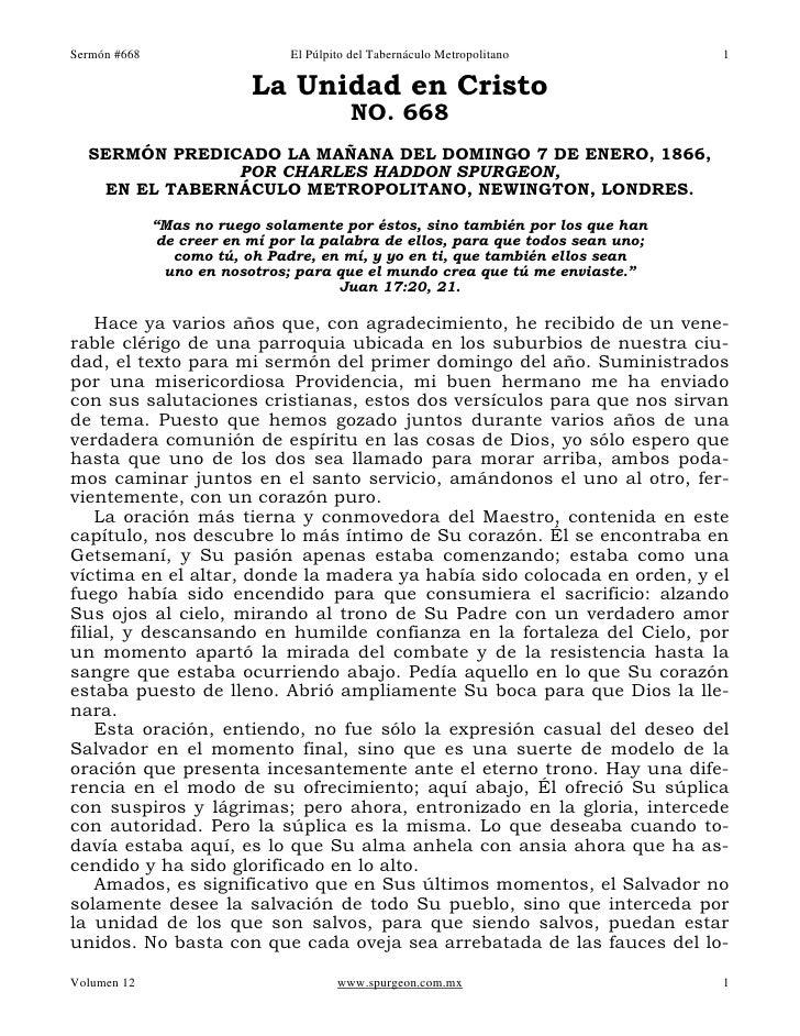 Sermón #668                    El Púlpito del Tabernáculo Metropolitano          1                          La Unidad en C...