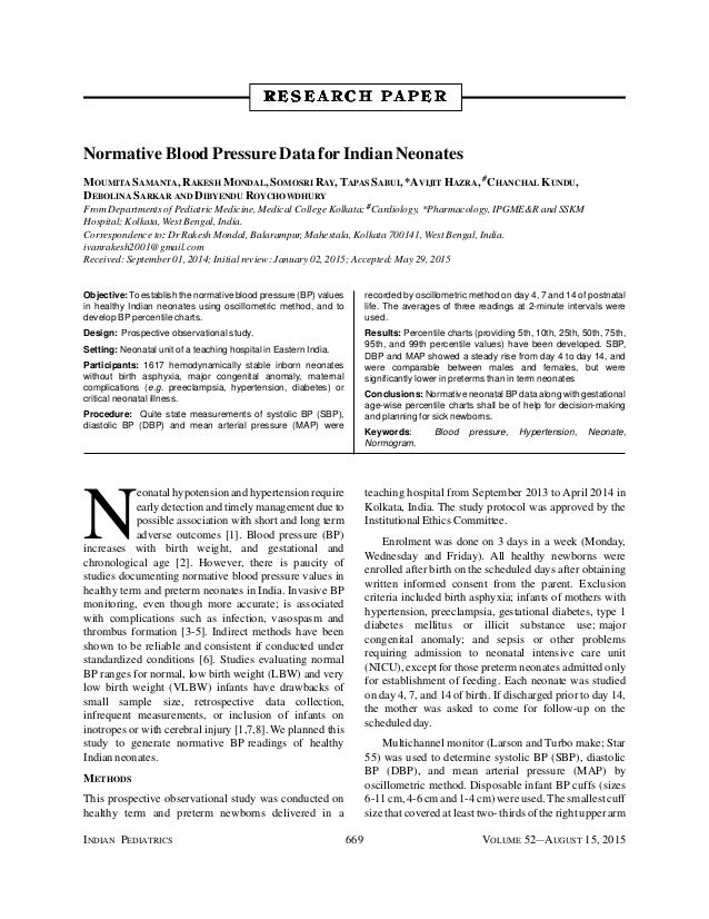 Normative Blood Pressure Data For Indian Neonates