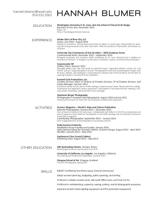 hannah blumer resume and artist cv