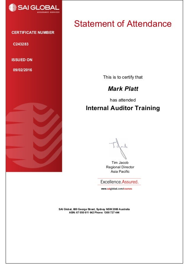 Internal Audit Certificate