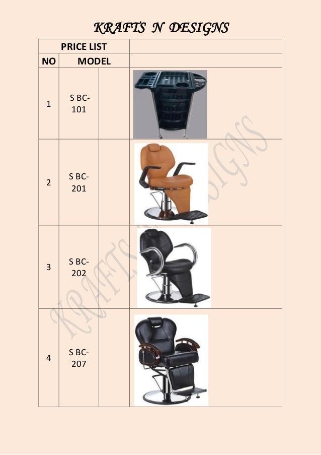 KRAFTS N DESIGNS PRICE LIST NO MODEL 1 S BC- 101 2 S BC- 201 3 S BC- 202 4 S BC- 207