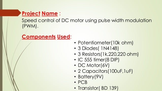 Controlling Of Dc Motor Using Ic 555 Timer