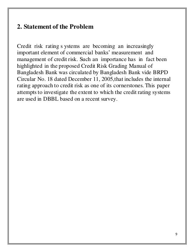 Term Paper On Evaluation Of Credit Assessment  Risk Grading Manageme